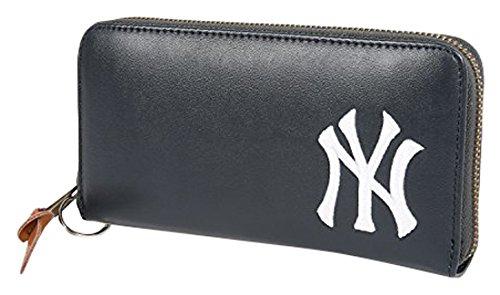 NEWYORK YANKEES(ニューヨークヤンキース) 財布 ウォレット 合皮 長財布 無地 ロゴ 刺繡 サイフ メンズ レディース ユニセックス ネイビー