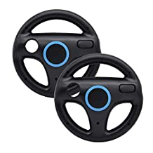 Beastron Racing Wheel Compatible with Wii and Wii U Racing Games - 2 Pack, Black