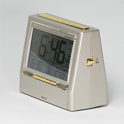 セイコー クロック 目覚まし時計 TALK LINER トークライナー 音声時報 音声アラーム バイリンガル 切替 カレンダー 温度 湿度 表示 電波 デジタル 薄金色 パール DA206G SEIKO