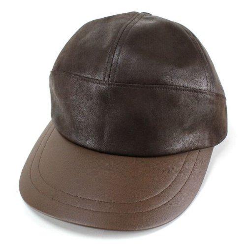 メンズ レザーキャップ/フェイクレザー/イタリアブランド mila schon/帽子 紳士/ミラ・ショーン/こげ茶 ダークブラウン