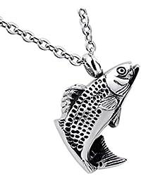 シルバートーンラッキー魚ペンダントCremation Urnジュエリー記念品メモリアルネックレスステンレススチール