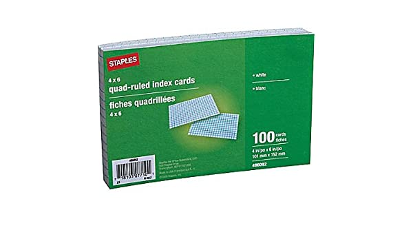 Staples Index Cards 4 X 6 Graph Ruled 300 Count 4 X 6