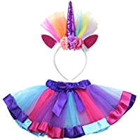 BESTOYARD 2pcs Unicorn Headband Rainbow Tutu Skirt Kids Unicorn Cosplay Costume Set Size M