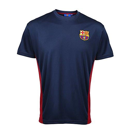 FC バルセロナ FC Barcelona メンズ オフィシャル サッカー・フットサル パフォーマンスTシャツ 半袖トレーニングシャツ サッカーシャツ スポーツトップス フットボール 男性用 (S) (ネイビー)
