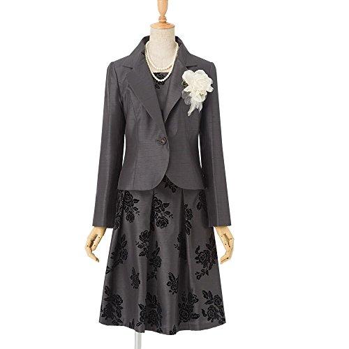 (アンジェリカ)Angelica N20463 新 ダークグレー 11号 シャンタン テーラードジャケット スーツ スカートスーツ 高品質セレモニースーツ グレー