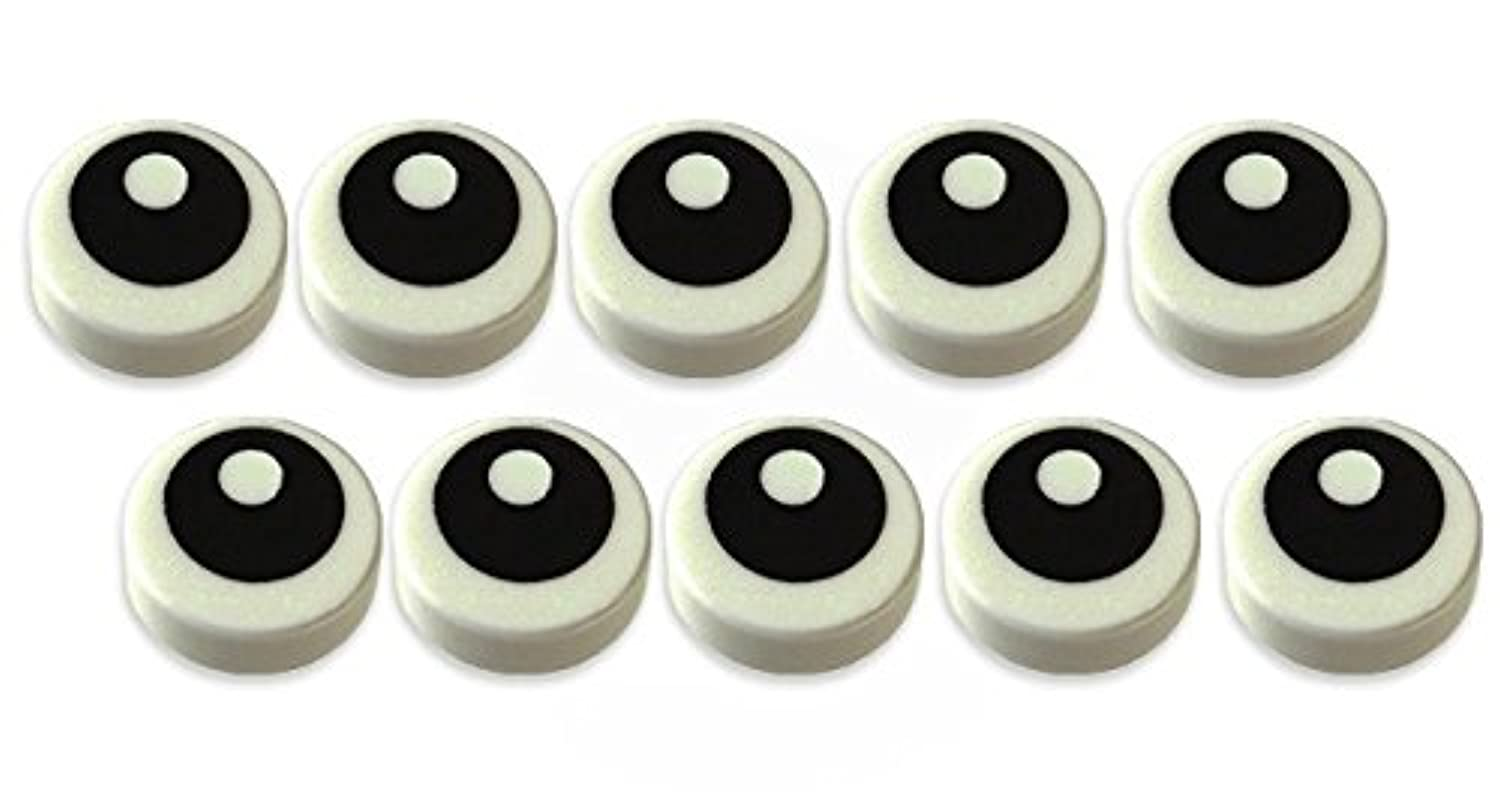 レゴ(LEGO)パーツ タイル 目玉 1x110枚セット | White Tile, Round with Black Eye with Pupil Pattern