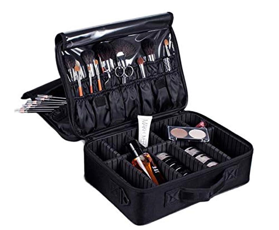 医学放射能放つプロ用 メイクボックス 收納抜群 大容量 化粧バッグ 置き方が調整できる 旅行 家用に大活躍な化粧箱 (ブラック&三層)
