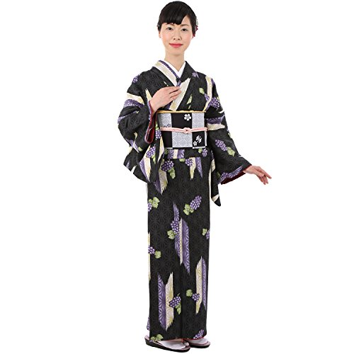 (キョウエツ) KYOETSU レディース洗える着物 小紋 袷 仕立て上がり 258 (M, 11A-黒×葡萄)
