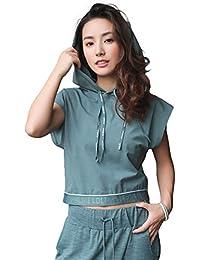 Sloli スポーツウェア レディース パーカー ランニングウェア 半袖 Tシャツ ゆったり フート付き