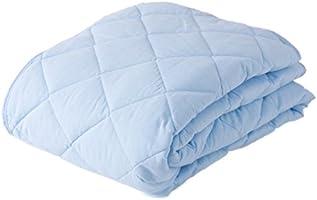mofua natural 防ダニ・抗菌防臭 丸洗いできる綿100%敷パッド(東洋紡フィルハーモニィわた使用)シングルブルー 51290102