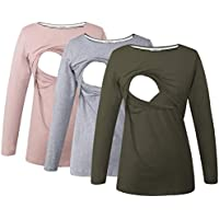 Smallshow Women's Maternity Nursing Tops Comfy Long Sleeve Breastfeeding T-Shirt