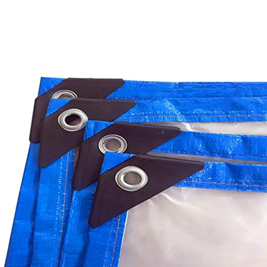 マニュアル民間高潔なタープ グロメット付きの太陽と雨/透明な防水シートのためのプラスチック防水シート、耐引裂性、アンチエイジング テント (Color : Clear, Size : 3×4M)