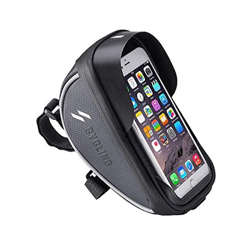 物理的なチョーク洗練サイクリングフレームバッグ タッチスクリーンの電話箱が付いている防水自転車フレーム袋の自転車のハンドルバー袋は6.0インチ以下の電話に合います自転車パニエ袋 電話収納バッグ (Color : Black, Size : 19*10.5*10cm)