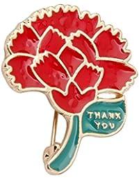 【ノーブランド 品】結婚式 パーティー 赤い カーネーション ブローチ 花 ブローチピン ゴールド 母の日 贈り物