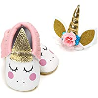 PanGa Baby Boys Girls Mary Jane Shoes with Unicorn Headband Soft Sole Non-Slip Toddler Party Dress Shoes