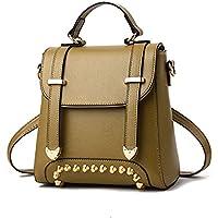 ZHANGYOUDE Rivet Pattern Leisure Fashion PU Double Shoulder Bag Handbag(Army Green) (Color : Army Green)