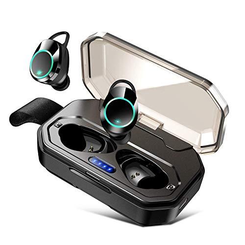 2019最新版 4000mAh 電池容量強化バージョン Bluetooth イヤホン 完全 ワイヤレス イヤホン 【Bluetooth5.0 EDR搭載/携帯へ給電可能 / 130時間連続駆動 / IPX7防水規格 / タッチ式/自動ペアリング / 1回の充電で4~6時間のご使用 / 音量調整/Siri対応/技適認証済】