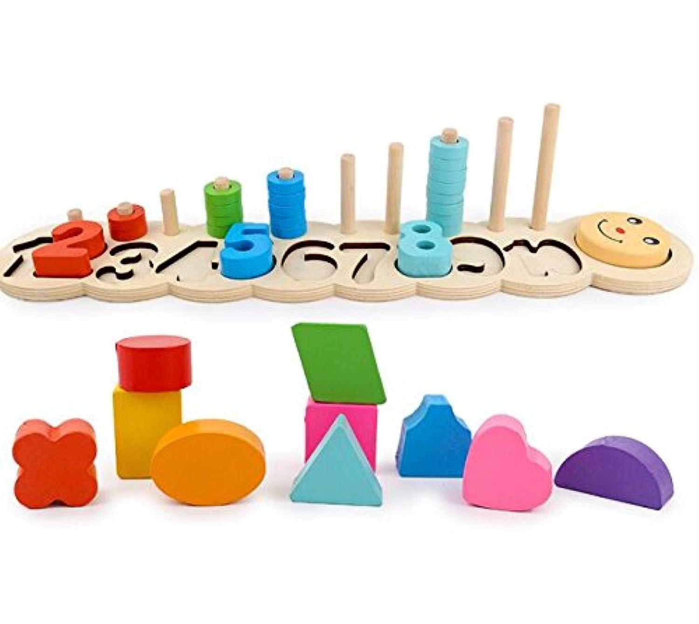 HuaQingPiJu-JP ブランドの新しい木製ビルディングブロックコラムベビージオメトリ認知マッチングおもちゃクリエイティブギフト
