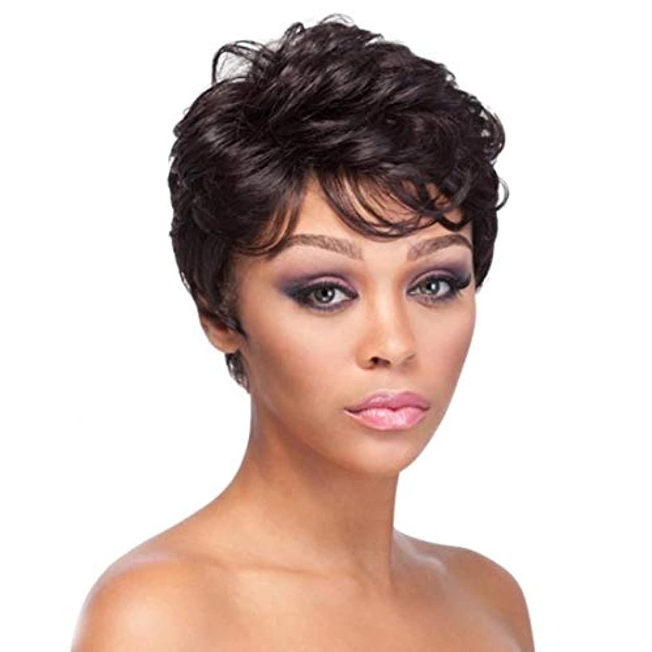 抑圧者近傍植物学者Kerwinner 女性のための短い巻き毛のかつら前髪合成繊維のかつらでかつらかつら