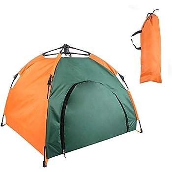 Kadahis ペット用テント 猫犬用小屋 ペットハウス ワンタッチ式 組み立て簡単 防水 防風 日よけ 軽量 室内 屋外 アウトドア キャンプに大活躍 折り畳み式 クッション 収納袋付き