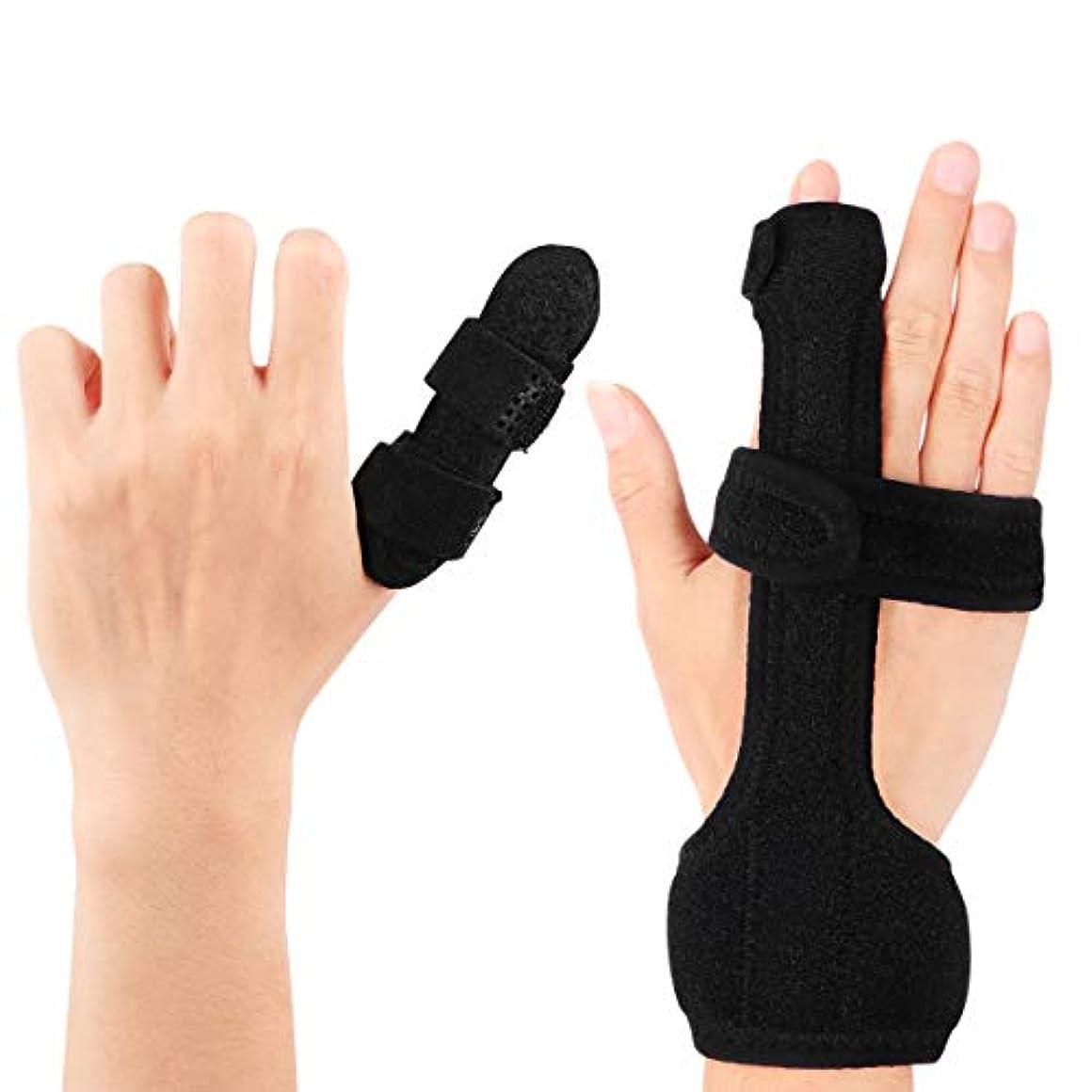 グローブタイプライター幻滅Healifty トリガーフィンガースプリントフィンガーブレースハンドスプリントフィンガーサポート、固定ベルトによる指の痛みを軽減します(黒)
