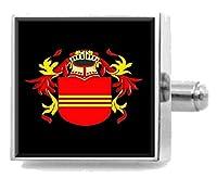 選択ギフトベリーEngland Heraldry CrestスターリングシルバーCufflinks Engravedメッセージボックス