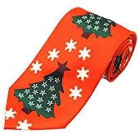 Jacob Alexander Boys' Prep Red Orange Christmas Tree Stars and Snowflakes Regular Length Neck Tie