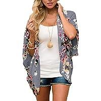 Omoone Women's Short Batwing Sleeve Floral Chiffon Cardigan Kimono Beachwear