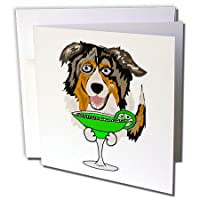 All Smiles Art Drinking - 面白い キュート オーストラリアン シェパード ドッグ ドリンキング マルガリータ - グリーティングカード Individual Greeting Card