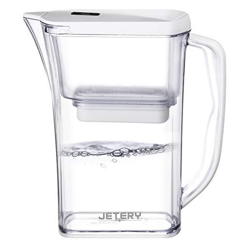 浄水 ポット JETERY ポット型浄水器 濾過ポット 活性炭繊維カートリッジ1個付 卓上/冷蔵庫/小型/横置き 大容量 1.8L しっかり浄水・除菌を実現 JT-7220