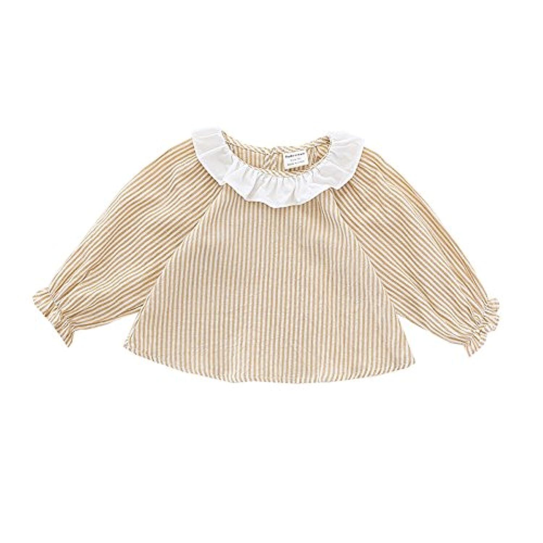 ALLAIBB ベビー服 ワンピース シャツ 長袖 ベルベット ブラウス キッズ 女の子 春 秋 size 90 (イエロー)