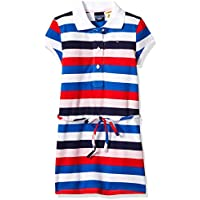 Tommy Hilfiger Girls Adaptive Polo Dress with Magnetic Buttons and Tie Belt Short Sleeve Casual Dress - White - 5