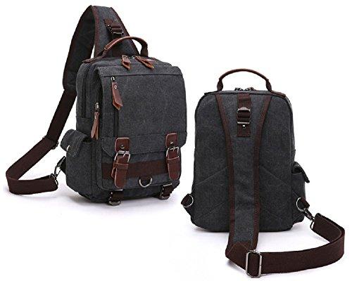 Gaudio (ガウディオ) 大容量収納とデザイン性を兼ね備えた ビッグ ボディバッグ ワンショルダー キャンバス バッグ (Black(黒))