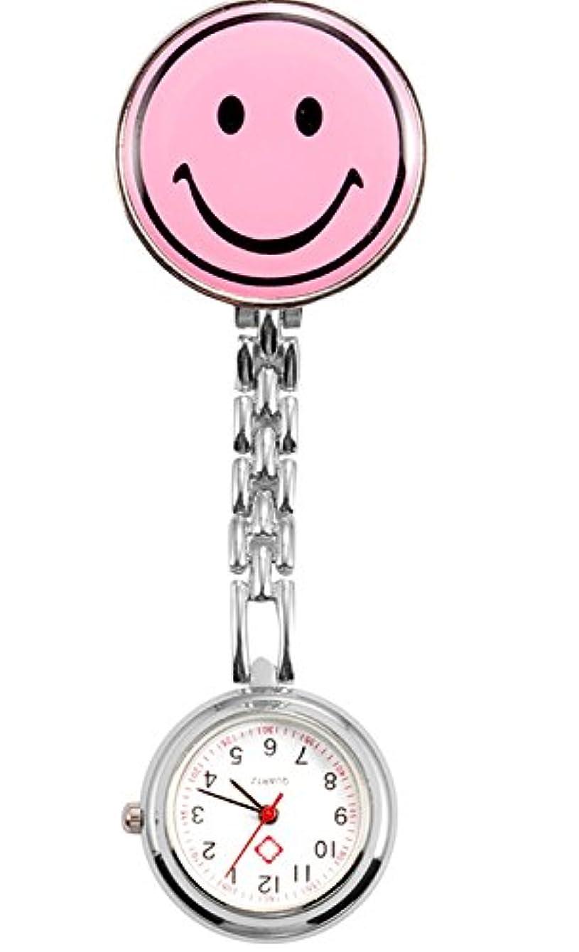 形容詞実行可能ホースナースウォッチ 時計 ニコちゃんマーク クリップ 蓄光式 かわいい (ライトピンク) PR-NICO-WATCH-LPK