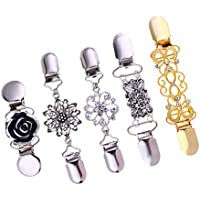 Lovoski 5 Pieces Retro Cardigan Clip Chain - Rhinestones Sweater Clip, Shirt Collar & Shrug Dresses Pins Brooches for Women