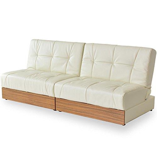 (DORIS) ソファーベッド シングル 収納 【ユパ ホワイト】 幅176cm レザー 3段階リクライニング 木目調 引き出し収納付 (KIC)