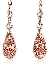 Lavecbella エレガントなファッションローズゴールドメッキ涙の女性のイヤリング
