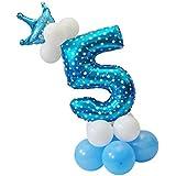 SONONIA 王冠 & 数字の形 バルーン コラム セット 誕生日パーティー デコレーション ブルー 全10セット - 5