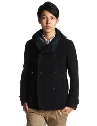 Melton Hooded Pea Coat 11-19-0700-887: Navy