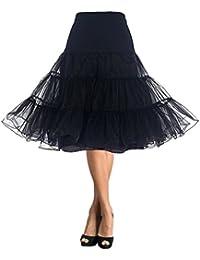 DaisyFormals レディース フリルいっぱい ふわふわパニエ ショート丈 3段パニエ フリルいっぱい カラースカート ロング66cm丈 フラ スカート- Black,SM