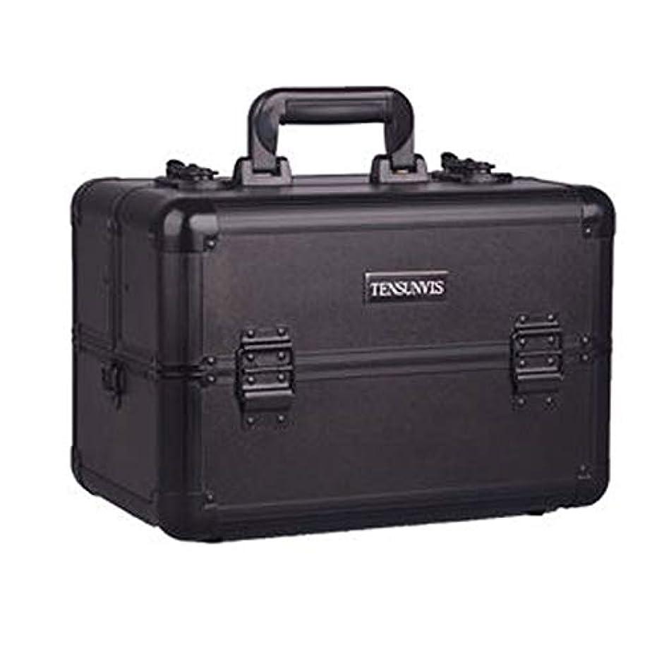 欺鏡リットルプロ専用 メイクボックス ブラック ヘアメイク プロ 大容量 軽量 高品質 多機能 I-HT-405AB