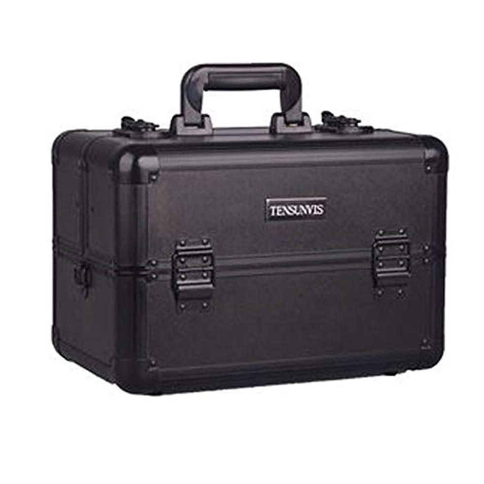 ほうきベール読むプロ専用 メイクボックス ブラック ヘアメイク プロ 大容量 軽量 高品質 多機能 I-HT-405AB
