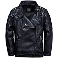 TLAENSON Boys Black Leather Jacket Studded Motorcycle Faux Leather Coat