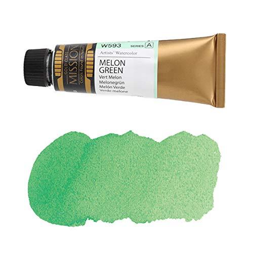 ミッションゴールドクラス 水彩絵具 (緑色系) メロングリーン 15mL (W593) A (mission gold class water color) [ 透明水彩絵具 最高級 顔料 発色性 耐光性 専門家用 プロ用 アーティスト用 画材 水彩画 水