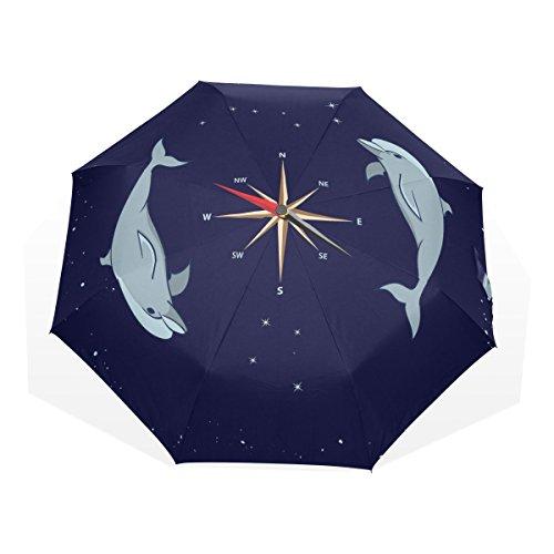 バララ(La Rose) 折り畳み傘 軽量 レディース 手開き 日傘 晴雨兼用 折りたたみ かわいい おおぐま座 イルカ柄 梅雨対策 頑丈な8本骨 三つ折り 遮光 丈夫 耐風 撥水 子供 携帯用 収納ポーチ付き