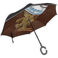 【 大きい 逆折り式傘 メンズ レディース 子供 】逆さ傘 逆開き UVカット 撥水 耐風 逆さま 濡れない 「 日傘 ビジネス 車 逆折 長傘 」「 自立可能 二重生地 」「 晴雨兼用 逆おり 」「 124センチ 逆 傘 」ラーメンのゾンビ
