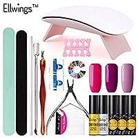 sales Ellwings 16本ネイルアートジェルネイルポリッシュセットUVゲルニスネイルデザイントップベースコートジェルペイントエナメルマニキュアツールキットセットカラー01