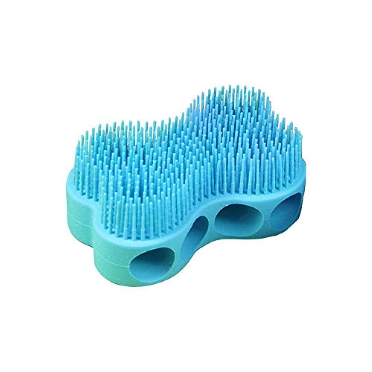 人工的な単なる地上のボディブラシ マッサージブラシ シリコーン製 柔らかい 快適 角質除去 全身マッサージ 血行促進 疲れ解消 ブルー junexi