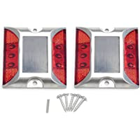 kasamy ソーラー 充電式 LED 道路 鋲 夜間常時点灯 路肩 標 誘導 灯 2個 セット 取付ビス付 (赤色点灯)