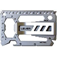 Lever Gear Toolcard Pro with Money Clip - 40 in 1 Credit Card Multitool. Sleek Minimalist Stainless Steel Wallet Multi Tool and Money Clip - Bead Blast Silver